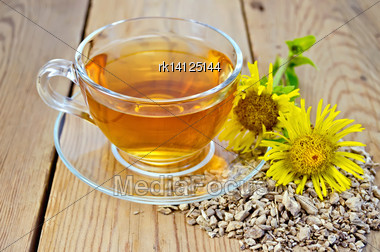 Elecampane Root, Fresh Yellow Flower Elecampane Tea In A Glass Cup On A Wooden Board Stock Photo