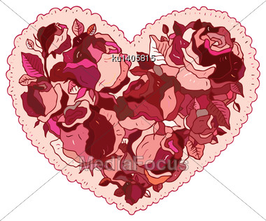Elegance Pattern Heart Of Flowers Roses. Valentine Greeting Card. Hand Drawn Vector Illustration Stock Photo