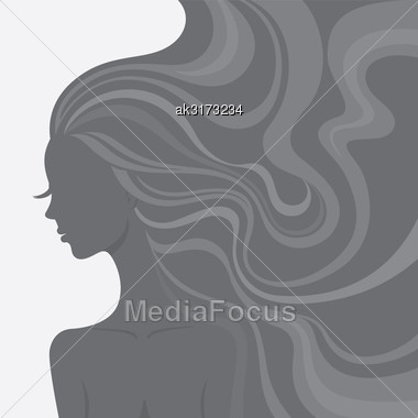 Fashion Line Art Silhouette Of A Beautiful Young Woman Stock Photo