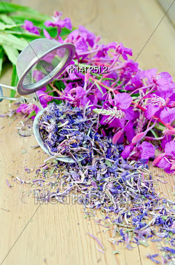 Fireweed Flowers Fresh And Dry In A Metal Strainer On A Wooden Board Stock Photo