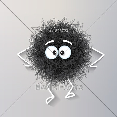 Fluffy Cute Black Spherical Creature Sad And Depressed, Vector Illustration Stock Photo
