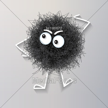 Fluffy Cute Black Spherical Creature Thinking , Vector Illustration Stock Photo