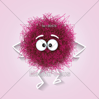Fluffy Cute Pink Spherical Creature Sad And Depressed, Vector Illustration Stock Photo