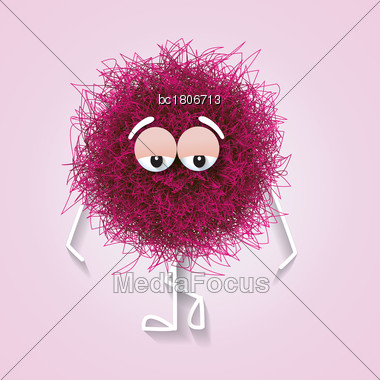 Fluffy Cute Pink Spherical Creature Thinking And Stressed, Vector Illustration Stock Photo