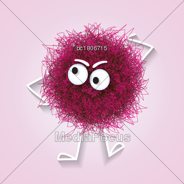 Fluffy Cute Pink Spherical Creature Thinking , Vector Illustration Stock Photo