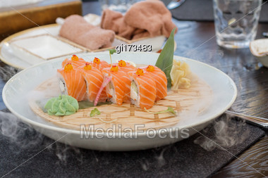 Fresh Sushi On A Platter Is Cooled With Ice Stock Photo
