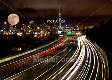 Full Moon Auckland City Freeway Lights North Shore Stock Photo