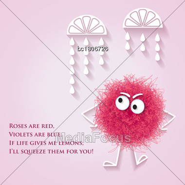 Funny Banner With Fluffy Pink Creature And Lyrics Message, Vector Stock Photo