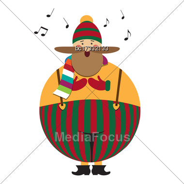 Funny Fat Christmas Carol Singing, People On White Background Stock Photo