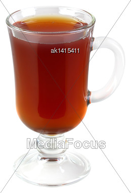 Glasses Cup With Black Tea. Isolated On White Background. Close-up. Studio Photography Stock Photo