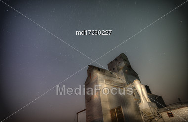 Grain Elevator Saskatchewan Canada Night Shot Stars Stock Photo