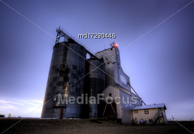 Grain Elevator Saskatchewan Canada Night Shot Storm Stock Photo