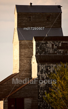 Grain Elevator Saskatchewan Canada Prairie Scene Summer Stock Photo
