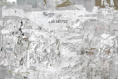 Gray Background Of Grunge Billboard. Close-up. Outdoor Photography Stock Photo
