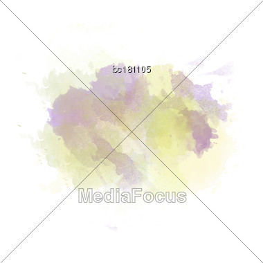 Gree , Yellow And Purple Watercolor Painted Stain Isolated On White Background, Vector Eps 10 Stock Photo
