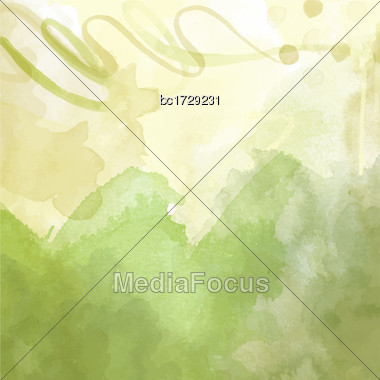 Green Hand Drawn Watercolor Background, Vector Stock Photo