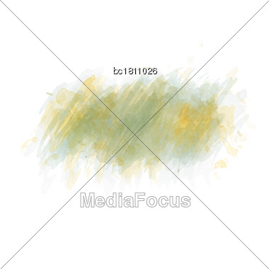 Green Watercolor Painted Stain Isolated On White Background, Vector Eps 10 Stock Photo