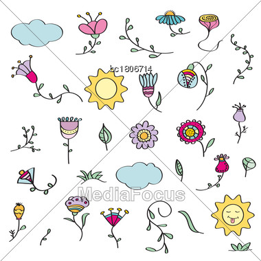 Hand Drawn Doodle Set Of Flowers. Vector Illustration, Isolated On White Background Stock Photo