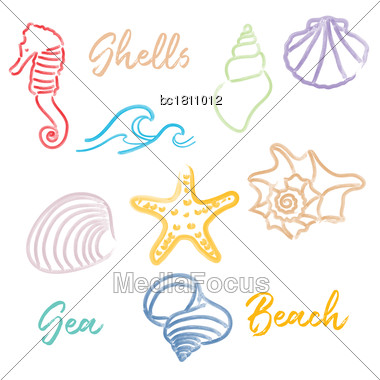 Hand Drawn Doodle Watercolor Seashells And Sea Elements Set. Vector Format Stock Photo