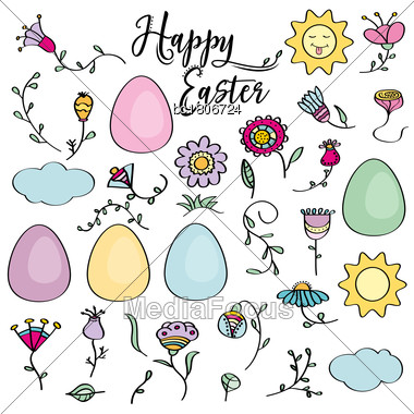 Hand Drawn Set Of Easter Design Elements. Eggs, Sun, Cloud, Flowers. Perfect For Holiday Decoration And Spring Greeting Cards, Vector Illustration , Isolated On White Stock Photo