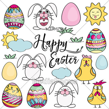 Hand Drawn Set Of Easter Design Elements. Eggs, Chicken, Bunny, Sun, Clouds. Perfect For Holiday Decoration And Spring Greeting Cards, Vector Illustration , Isolated On White Stock Photo