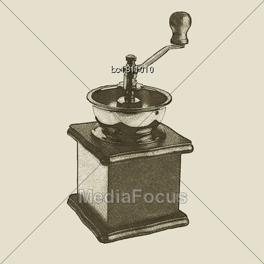 Hand Drawn Vintage Coffee Grinder, Vector Eps 10 Stock Photo