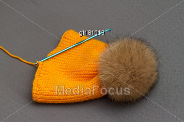 Handmade Knitwear Composition With Warm Hat Of Pastel Color Stock Photo