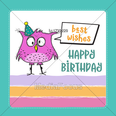 Happy Birthday Card With Funny Doodle Bird, Vector Format Stock Photo
