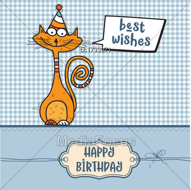 Happy Birthday Card With Funny Doodle Cat, Vector Format Stock Photo