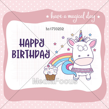 Happy Birthday Card With Lovely Baby Girl Unicorn, Vector Format Stock Photo