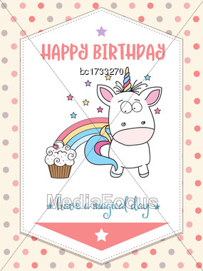 Happy Birthday Card With Lovely Baby Unicorn, Vector Format Stock Photo