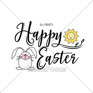 Happy Easter Greeting Text Decorate With Sun And Bunny. Perfect For Easter Greeting Card , Vector Illustration, Isolated On White Stock Photo