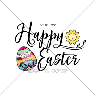 Happy Easter Greeting Text Decorate With Sun And Easter Egg. Perfect For Easter Greeting Card . Vector Illustration, Isolated On White Stock Photo