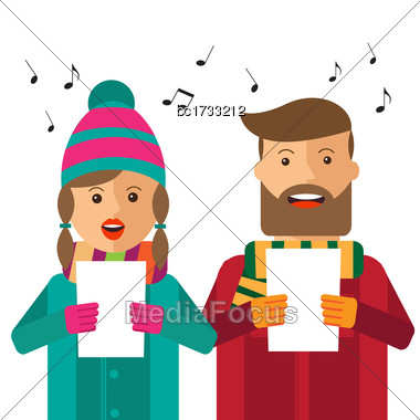 Hipster Carols On White Background, Vector Format Stock Photo