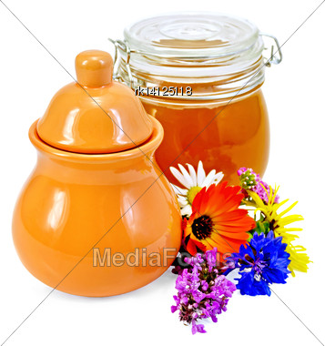 Honey In A Clay Jug And A Glass Jar With Flowers Isolated On White Background Stock Photo