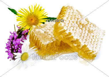 Honeycomb With Fragrant Honey, Wild Flowers Isolated On White Background Stock Photo