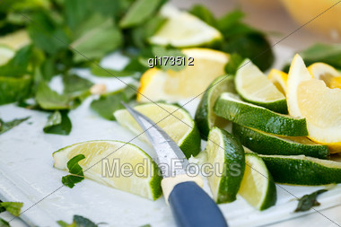 Ingredients For A Refreshing Mojito Cocktail. Close-up Stock Photo