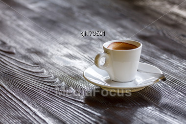 Invigorating Morning Cup Of Coffee On Wooden Table Stock Photo