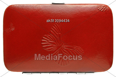 Leather Case With Butterfly Usolated Stock Photo