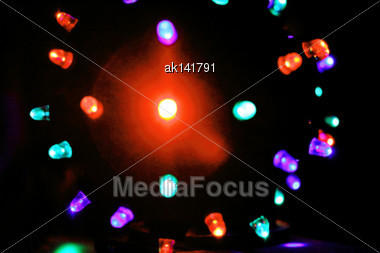 Led-lighted Disco-ball Bokeh Background. Close-up. Studio Photography Stock Photo