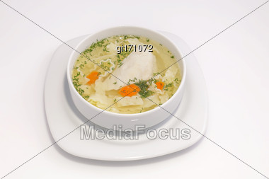 Light Soup With White Meat Chicken And Noodles. View From Above Stock Photo
