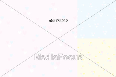 Light Vector Seamless Pattern With Hearts In 3 Variants Stock Photo