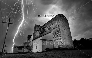 Lightning Storm Canada Rural Grain Elevator Countryside Stock Photo