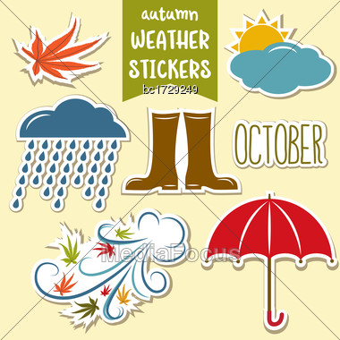 Lovely Autumn Weather Stickers Collection Stock Photo