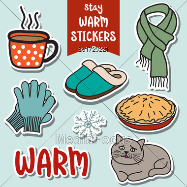 Lovely Stay Warm Stickers Collection Stock Photo