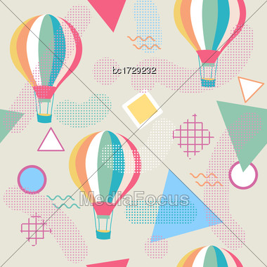 Memphis Style Seamless Pattern With Hot Air Balloon, Vector Stock Photo