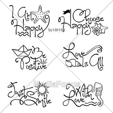 Motivational Quotes Collection With Marine Elements, Vector Format Stock Photo