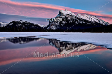Mount Rundle Winter Reflection Sunrise Majestic Snow Stock Photo