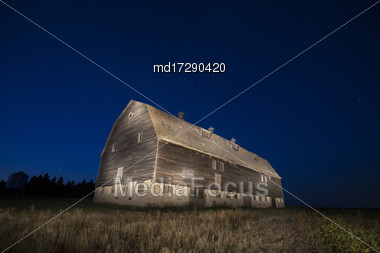 Night Barn Star Trails Farm Scene Saskatchewan Stock Photo