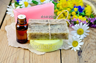 Oil In A Bottle, Homemade Soap On A Piece Of Paper, Chamomile Flowers, Tansy, Elecampane On The Background Of Wooden Boards Stock Photo